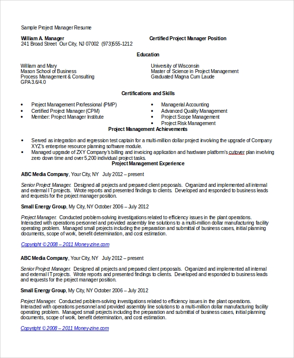 Sample Program Manager Resume  Program Manager Resumes