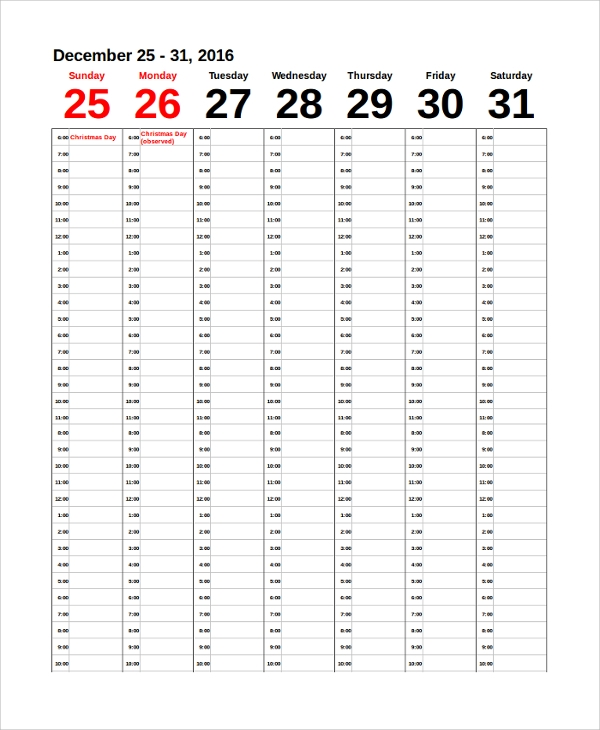 Printable Weekly Calendar Sample 8 Examples In PDF Word
