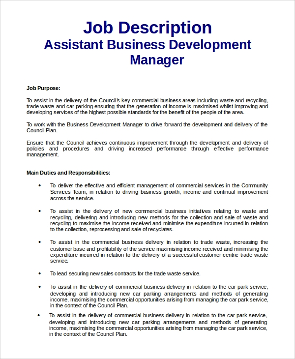 Sample Business Development Job Description   Examples In  Word