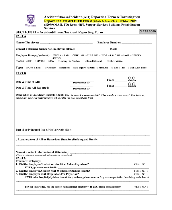 Accident Incident Report Form