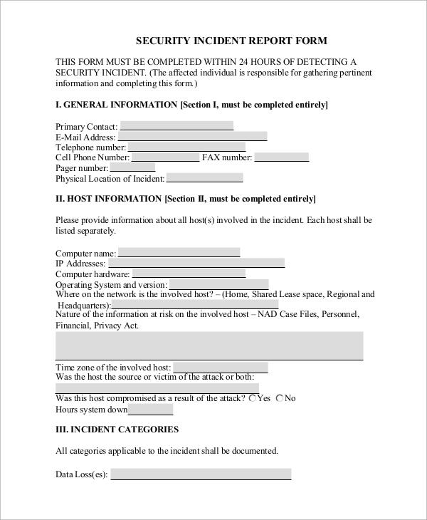 incident report categories