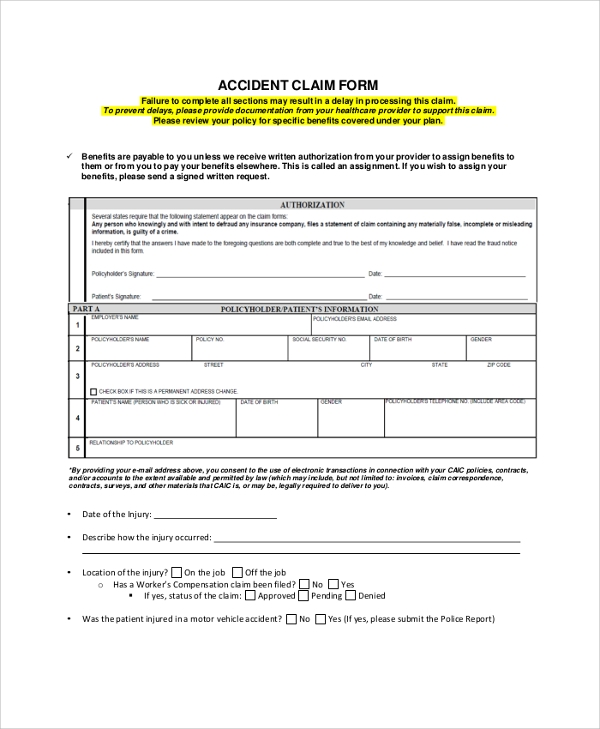 Sample Aflac Claim Form   Examples In Pdf