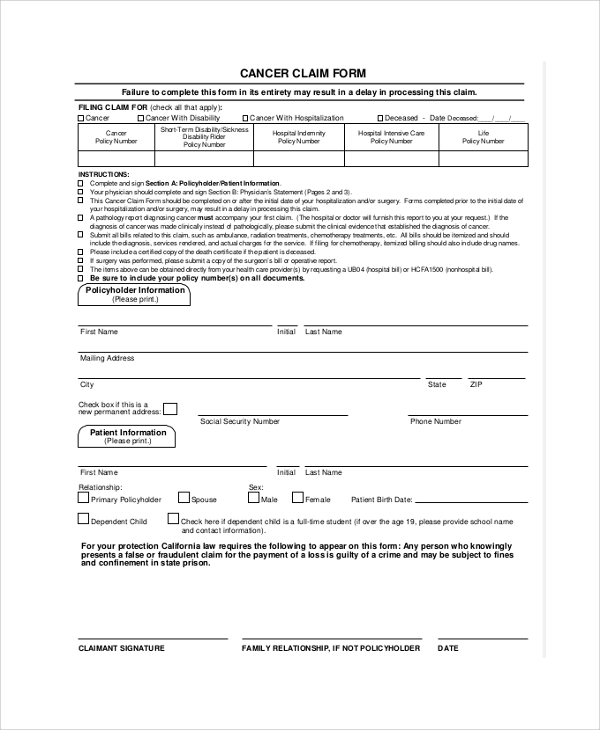 Sample Aflac Claim Form - 8+ Examples In Pdf