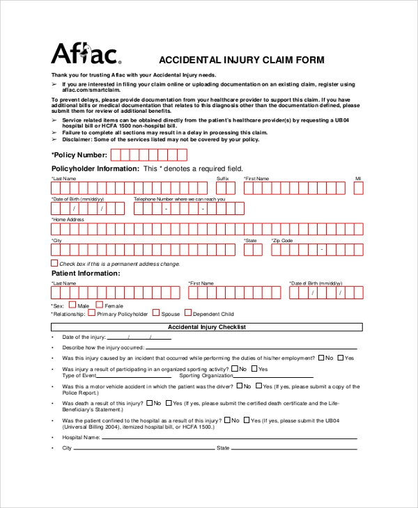aflac accidental injury claim form