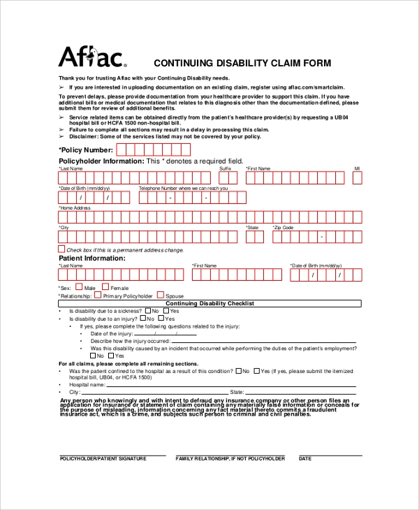 Sweet image within aflac printable claim forms