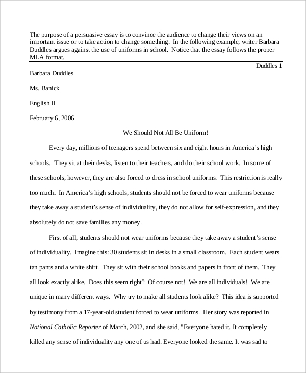 Sample persuasive essay high school