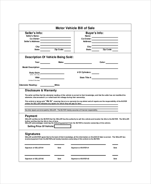Sample bill of sale pdf 8 examples in pdf Motor vehicle bill of sale pdf