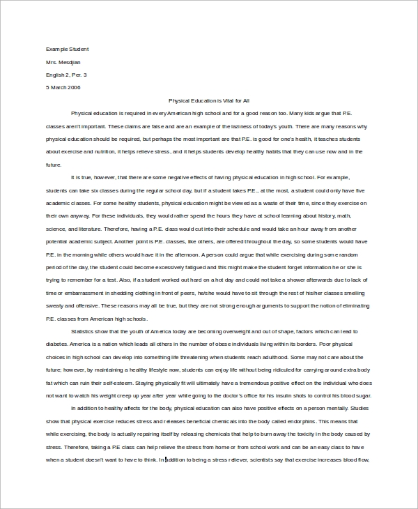 argumentative essay sample high school
