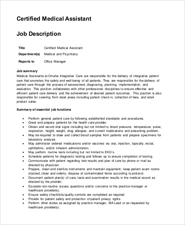 Sample Medical Assistant Job Description - 8+ Examples In Pdf