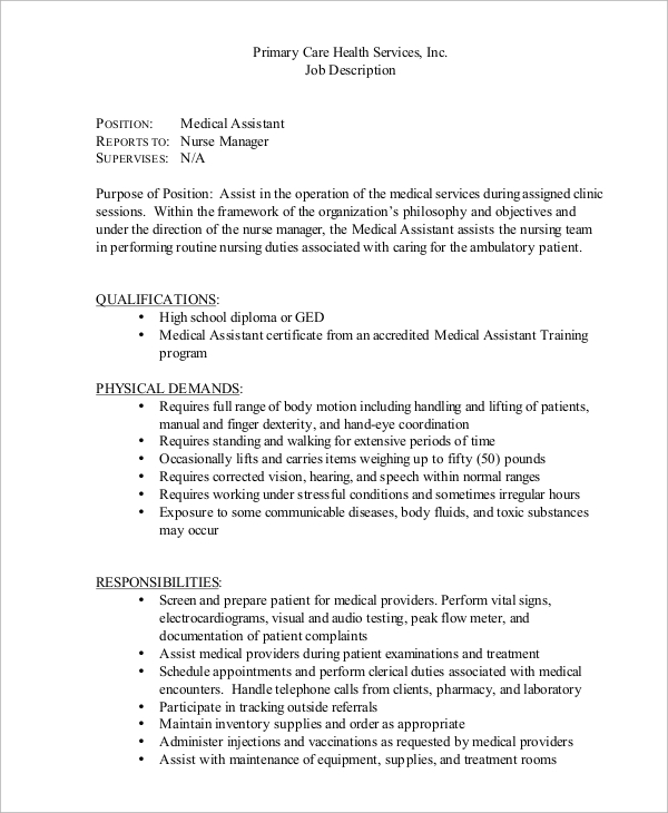 Sample Medical Assistant Job Description 8 Examples in PDF – Medical Assistant Job Dutie