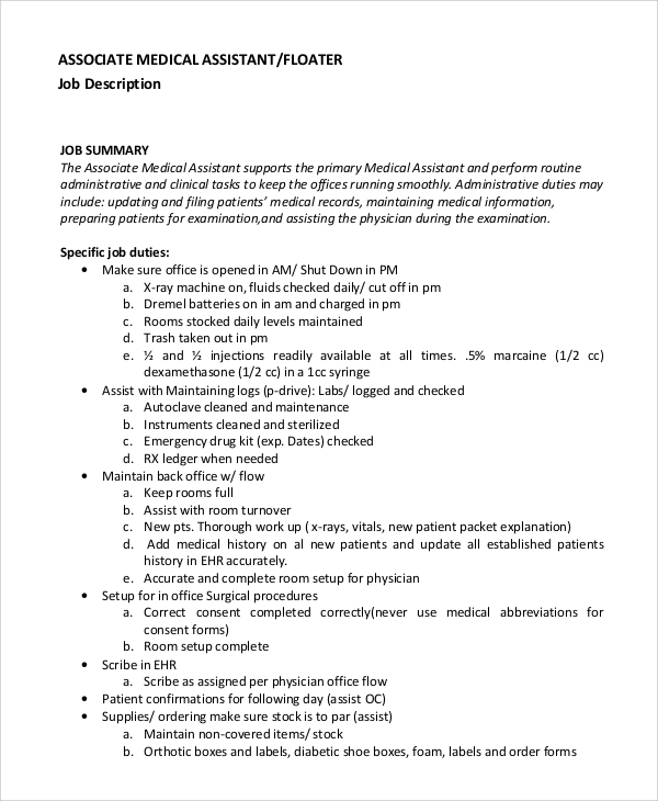 Sample Medical Assistant Job Description   Examples In Pdf