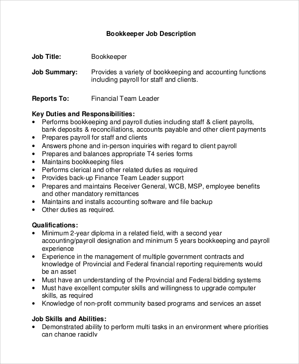 Sample Bookkeeper Job Description 8 Examples In Pdf Word