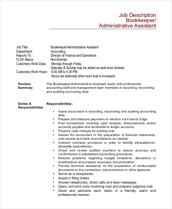 assistant bookkeeper job description