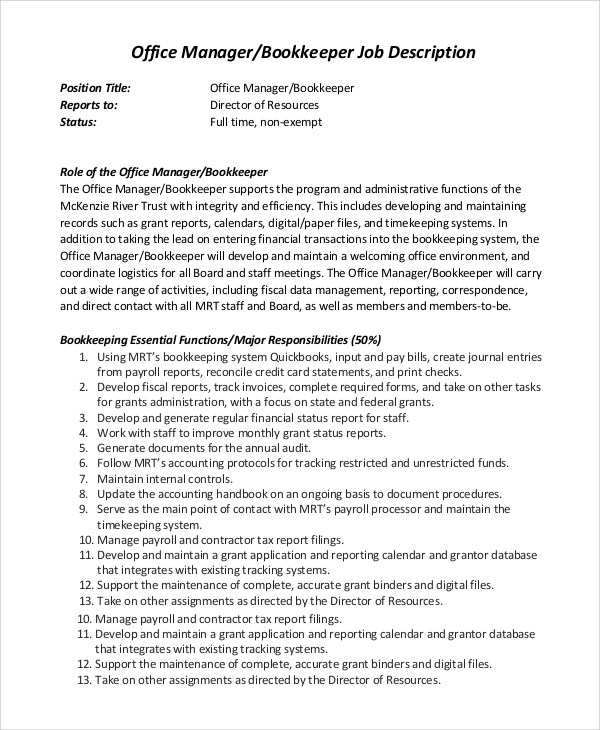 office manager bookkeeper job description