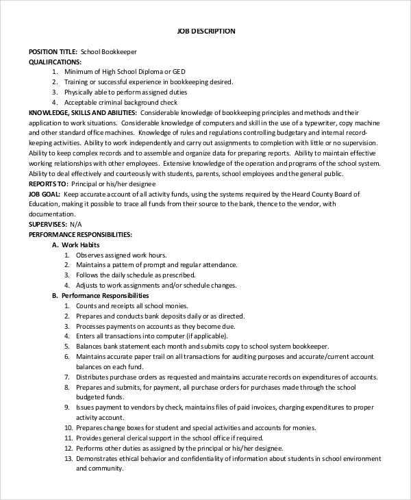 school bookkeeper job description