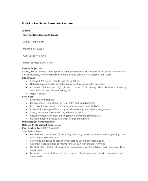 sample sales associate resume. Resume Example. Resume CV Cover Letter