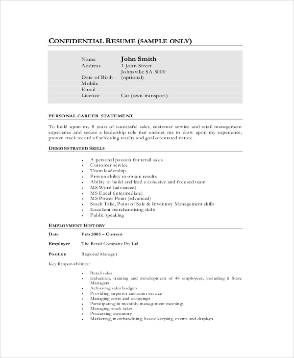Sample Sales Resume   Examples In Pdf Word