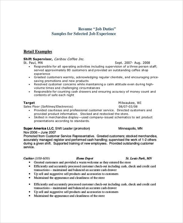 sales resume job duties