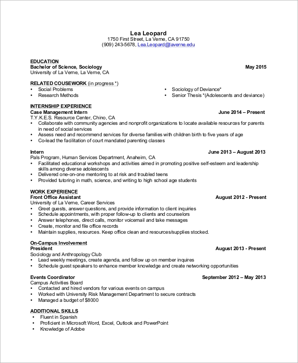 example resume 9 samples in word pdf