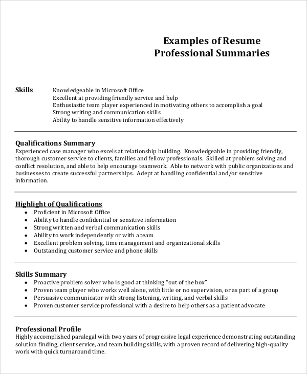 job summary example for resume