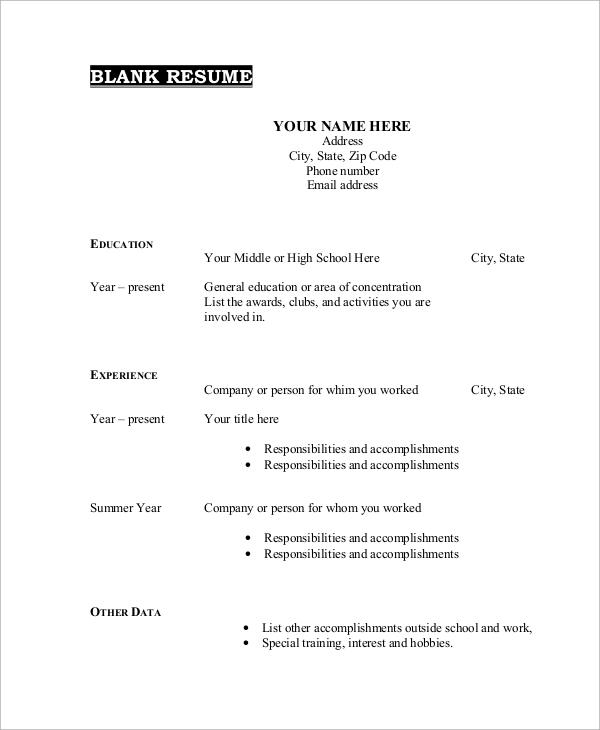 blank resume example