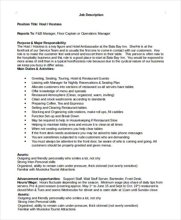 sample hostess job description