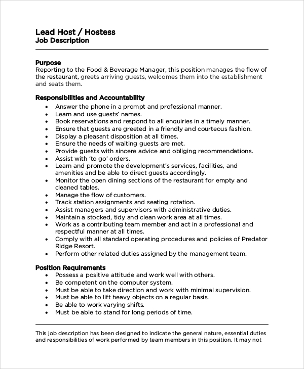 Sample Hostess Job Description   Examples In  Word