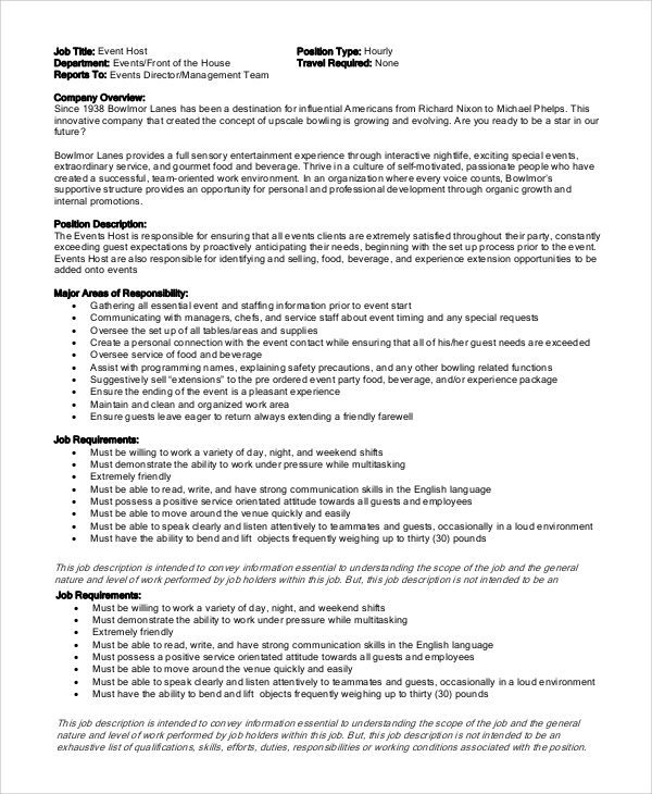 Sample Hostess Job Description 7 Examples in PDF Word – Hostess Job Description