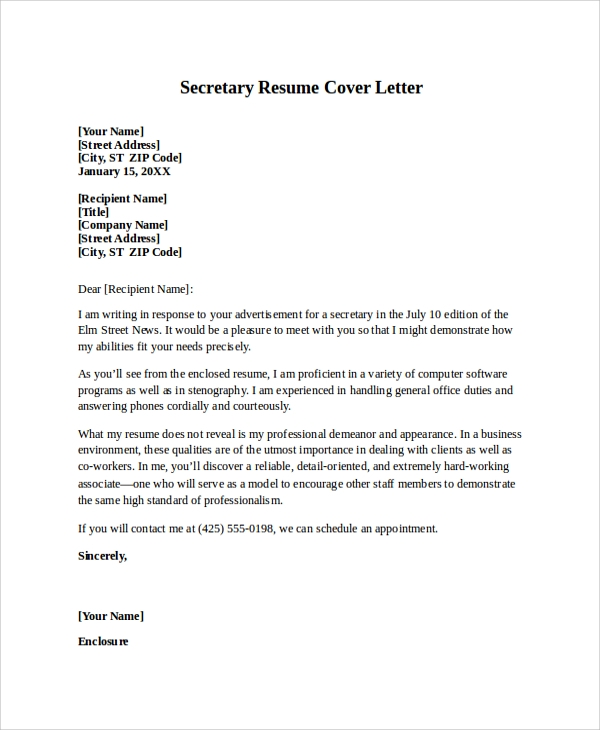 secretary resume cover letter