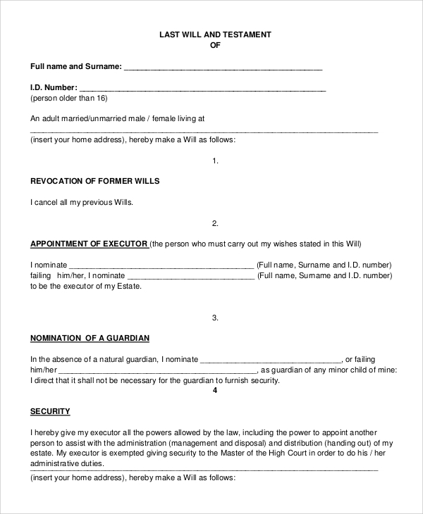 Sample Last Will And Testament Form 7 Examples In Pdf Word