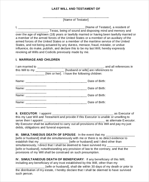 picture about Free Printable Last Will and Testament Blank Forms called Pattern Ultimate Will and Testomony Kind - 7+ Illustrations within just PDF, Term