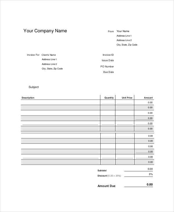 Sample Blank Invoice   Examples In Pdf Word Excel