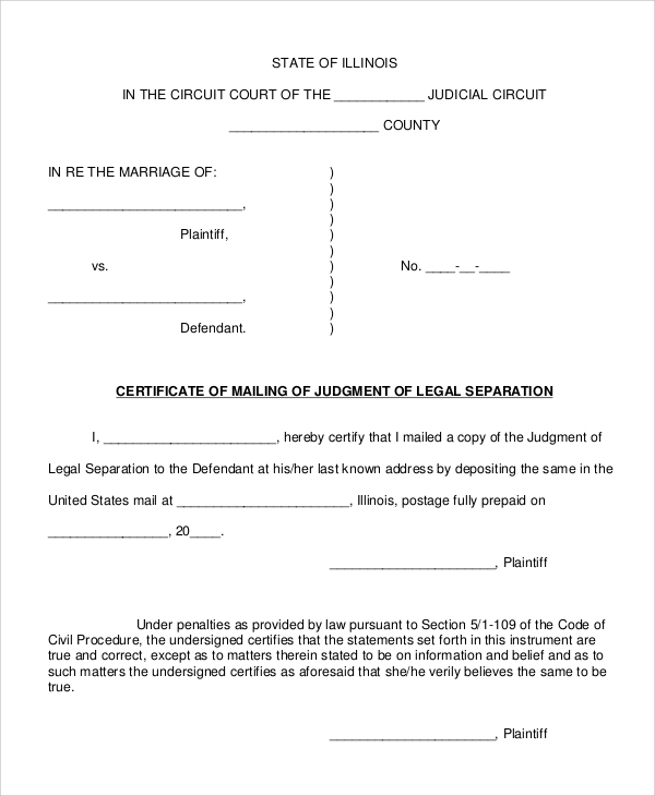 legal separation form