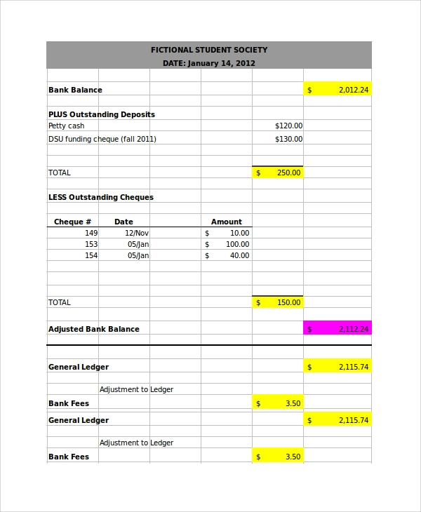 bank reconciliation template xls - 7 bank reconciliation examples sample templates