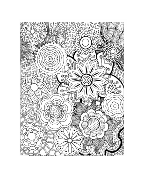 printable flower coloring page for adult