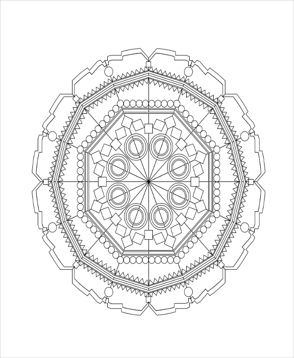 printable geometric coloring page for adult