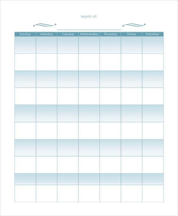 Sample Blank Monthly Calendar   Examples In Pdf Word