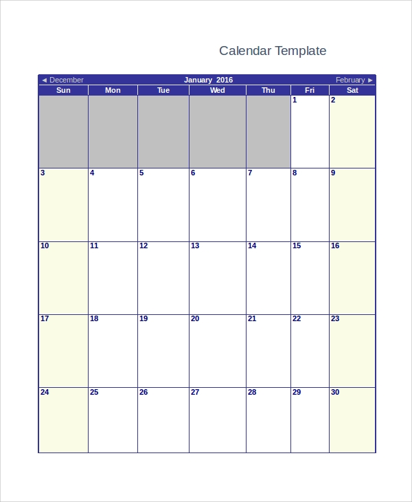 Sample Blank Monthly Calendar 8 Examples in PDF Word – Blank Monthly Calendar Template Word