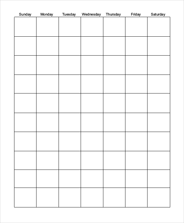 sample blank monthly calendar