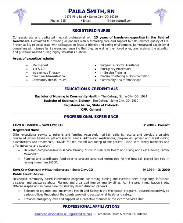 Sample Nurse Resume - 9+ Examples In Word, Pdf
