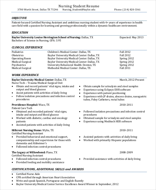 free 9  sample nurse resume templates in ms word