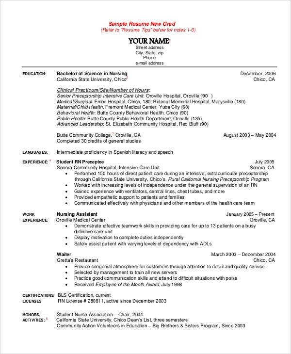 new grad nursing resume sample. Resume Example. Resume CV Cover Letter
