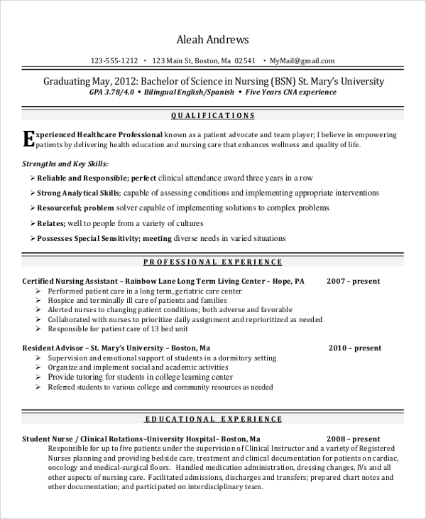 Sample Nurse Resume   Examples In Word Pdf