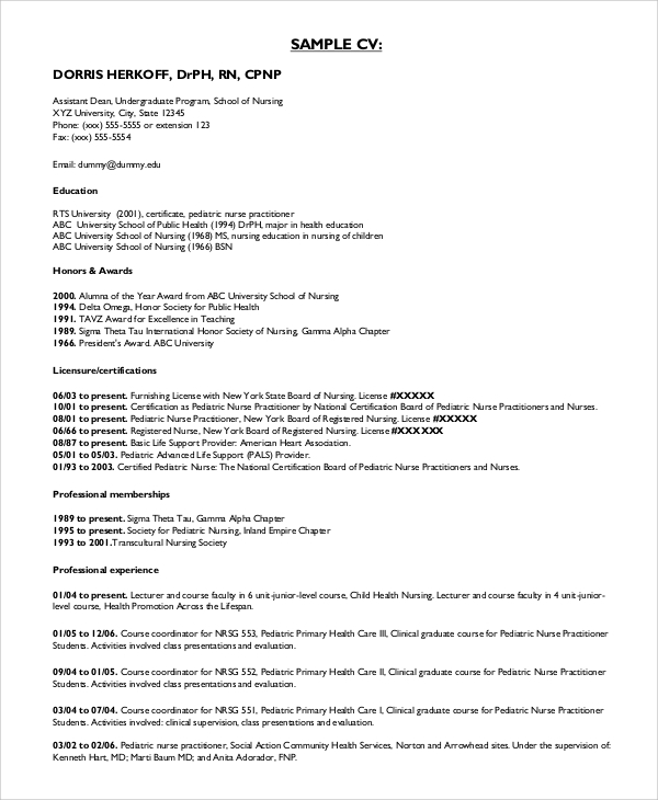sample nurse resume format
