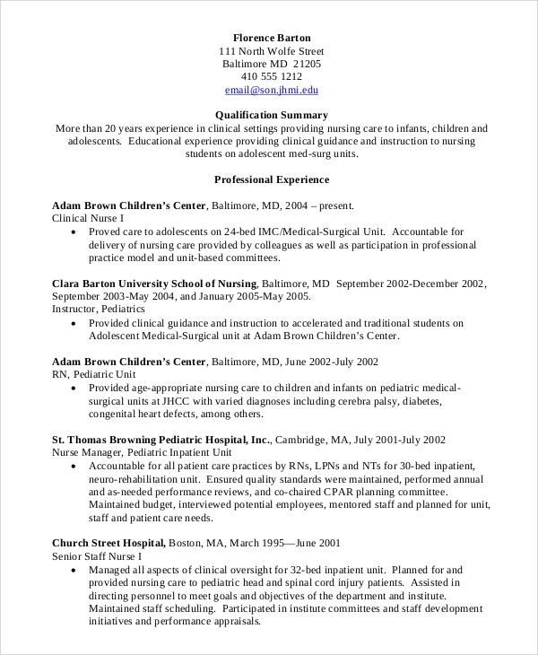 professional experience nurse resume
