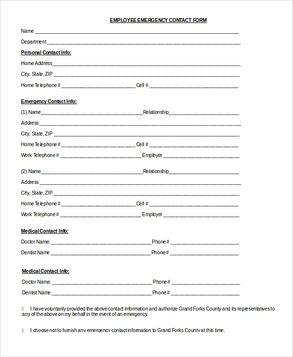 photograph about Printable Emergency Contact Form named 8+ Pattern Unexpected emergency Call Kinds - PDF, Document