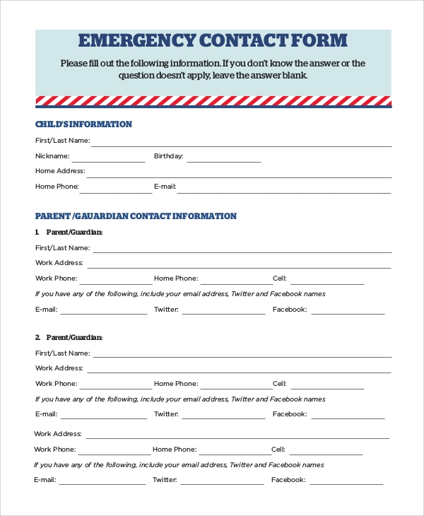 8 Sample Emergency Contact Forms Pdf Doc