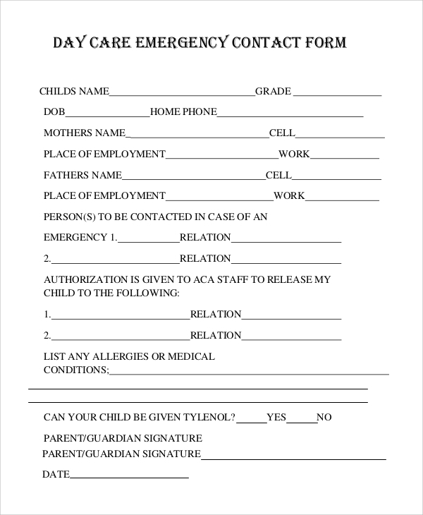 8 sample emergency contact forms pdf doc sample for Emergency contact form template for child