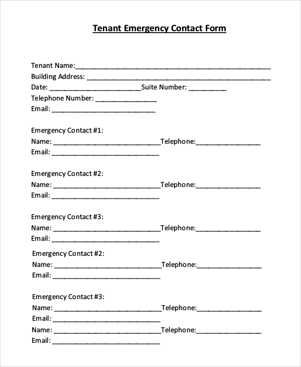 Sample Emergency Contact Form 8 Examples in PDF Word – Emergency Contact Forms