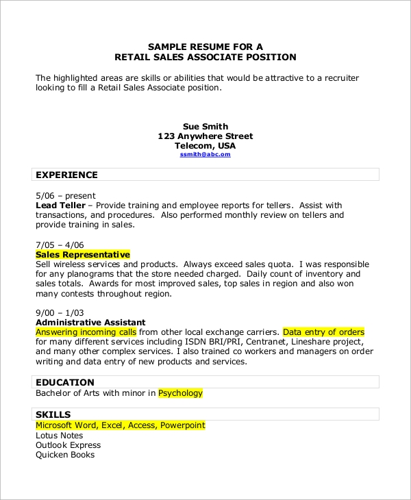retail sales associate resume1